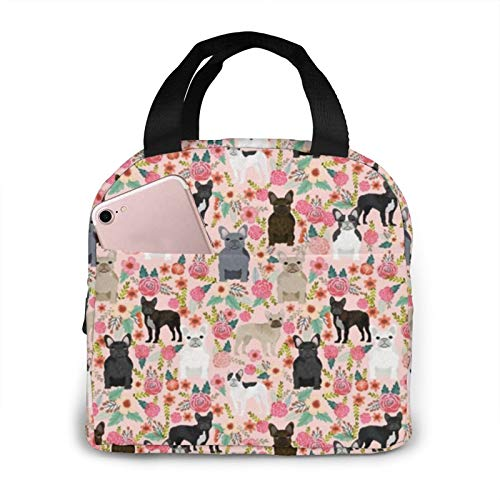 Frenchie Florals Cute French Bulldogs s Best Pet Insulated Lunch Bag Tote Bag for Women Wide Open Insulated Cooler Bag Water-Resistant