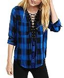 Yidarton Women Long Sleeve Plaid Shirt V Neck Casual Loose Pocket Button Down Shirts(bl+l)