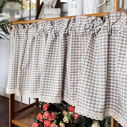 curtain Cortinas De Cocina De Guinga con Medias Cortinas De Algodón De Encaje Cortina De Ventana De Café De Estilo Rústico, Marrón Y Blanco