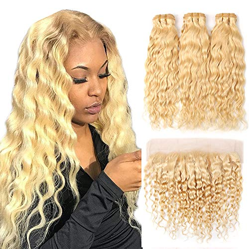 613 Blonde Human Hair Bundles With Frontal Wet And Wavy Brazilian Virgin Hiar Water Wave 3 Bundles With Lace Frontal Free Part Blonde Human Hair Bundle With Frontal (10 10 10+10, bundle with frontal)