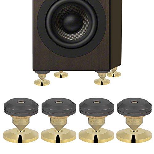 ASHATA 4PCS Spikes-Set für Lautsprecher,Kupfer Lautsprecher Spike Absorber 28x25mm,Lautsprecher Isolation Stand Boxenspikes+Basis Pad Set für Lautsprecher/CD-DVD-Player/Plattenspieler usw.