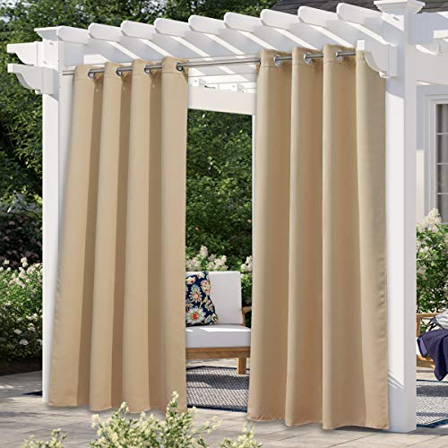 "NICETOWN Outdoor Curtain for Patio Waterproof 108"" Long, Triple Weave Stainless Steel Silver Grommet Thermal Insulated Privacy Room Darkening for Outdoor Living, Biscotti Beige, 1 Panel, 52"" Wide"
