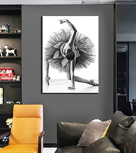 Puzzle 1000 Piezas Arte Moderno de niña Bailarina en Blanco y Negro Puzzle 1000 Piezas Juego de Habilidad para Toda la Familia, Colorido Juego de ubicación.50x75cm(20x30inch)