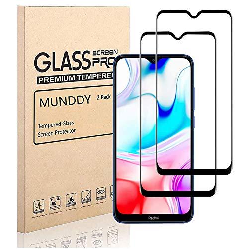 MUNDDY - Pack DE 2 Protectores de Pantalla Completa para XIAOMI REDMI Note 8 Pro Dureza de 9H sin Burbujas .Full Cover Cristal Vidrio Templado Completa con Bordes Redondeados. (Negro Full Glue