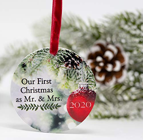BANBERRY DESIGNS Our First Christmas as Mr. and Mrs. 2020 - Red and Green Xmas Ornament with a Red Shiny Ball and Pine Tree Background - 1st Christmas Married