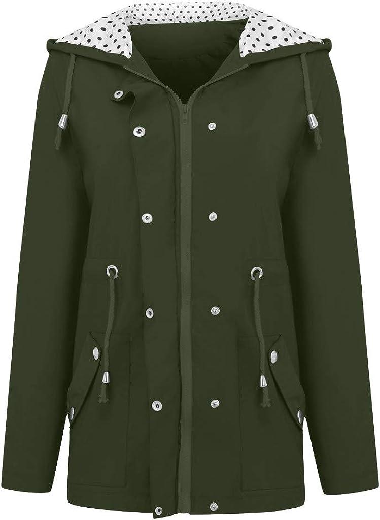 iHAZA Waterproof Womens Coat Raincoat Winter Long Sleeve Hoodie Fleece-Lined Rain Jacket Windbreaker Outdoor Wear Overcoat