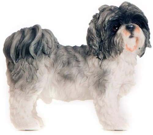 Greetingsbox Animal Figurines Shih Tzu Figurine décorative en Forme de Chien Gris et Blanc