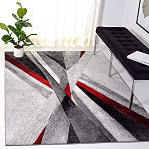 Safavieh Hollywood Collection HLW710Q Mid-Century Modern Non-Shedding Stain Resistant Living Room Bedroom Area Rug, 2'7″ x 5′, Grey / Red