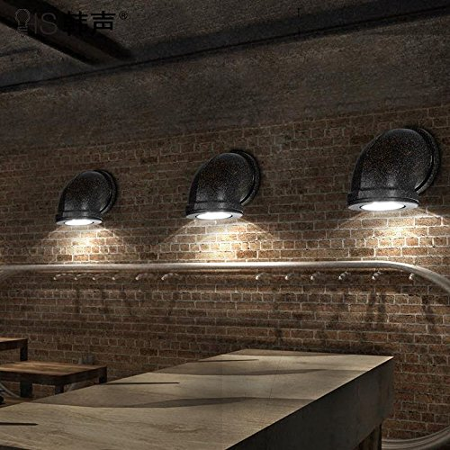 BOOTU Soppalco con letto matrimoniale Letto matrimoniale balcone luce scale retrò rustico ristorante industriale Cafe muro di ferro luci, testa singola ruggine-colorati (diametro 10* High-13cm)