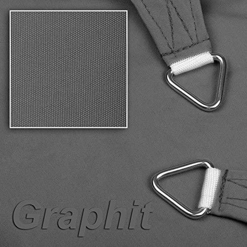 hanSe® Marken Sonnensegel Sonnenschutz Wetterschutz Wetterbeständig 100% Polyester wasserabweisend Rechteck 5x6 m Graphit