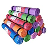 AweXs 12 Yoga Mats In Bulk For Kids PE Gymnastics Adults Non Slip - Exercise Stretching Fitness 12 Pack Piece Set + Multi Use Purpose - Workout Home Gym Carrying Strap Inexpensive Wholesale Bundles In Red Blue Green Purple Pink Orange