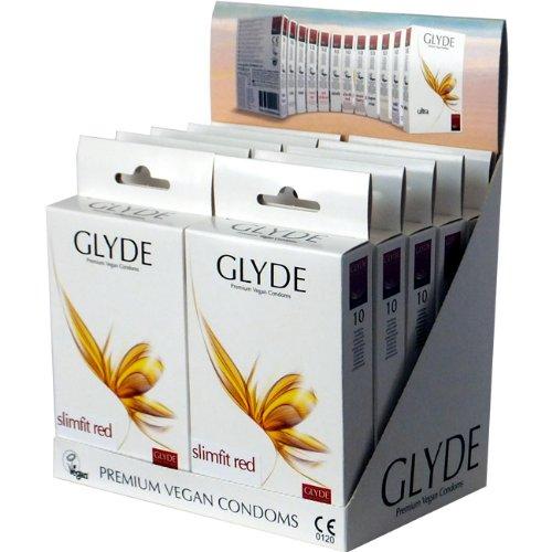 Glyde Ultra Slimfit Red: 10x10 smalle veganistische condooms, speciale aanbieding!