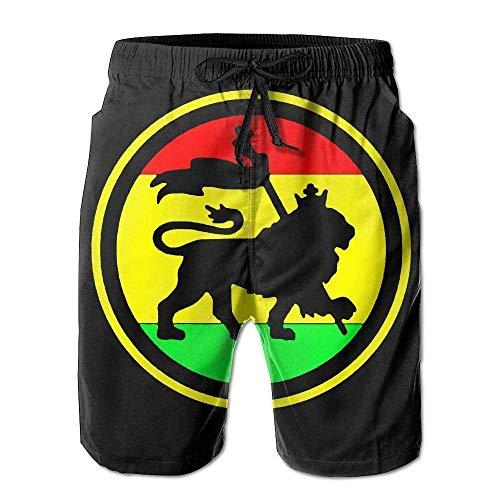 QUEMIN Dry Rasta Lion Troncos de natación para Hombre Pantalones Cortos de Tabla de Surf Pantalones de Playa Ropa Deportiva XXL