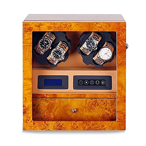 LLSS Watches Automatic Watch Winder Box For 4 Watches + 5 Storage Position, Watch Winder LCD Digital Display Quiet Engine, with Drawer