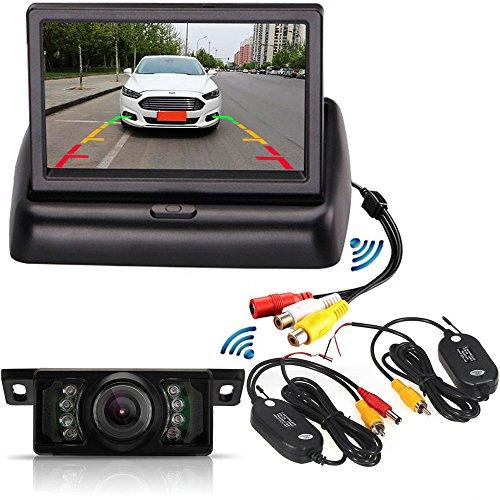 Sistema de cámara de visión trasera inalámbrica con 7 ledes IR impermeables para estacionamiento de vehículos y cámara de visión trasera plegable de 4.3 pulgadas TFT LCD a color monitor de coche