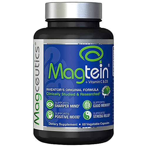 Magtein Magnesium L- Threonate - Bioavailable and 100% Water Soluble Magnesium - Clear Brain Fog, Improve Memory, Focus and Attention, Support Sleep and Mood – 30 Day Supply- 60 ct. Veggie Capsules