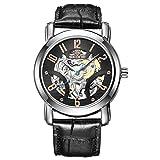 SJXIN Orologio Da Polso SKONE orologio da uomo meccanico automatico cinturino in pelle orologio da scheletro impermeabile (Color : 2)