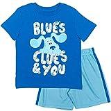 Nickelodeon Blue's Clues Big Boys T-Shirt Mesh Shorts Set Royal Blue 7-8