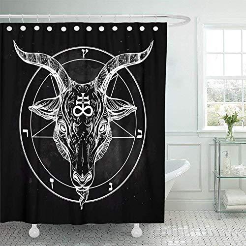 QAQ Sterrenhemel Douche Gordijn Pentagram Met Demon Satanic Geit Hoofd Binaire Symbool Tattoo Retro Muziek Zomer Voor Biker Zwart