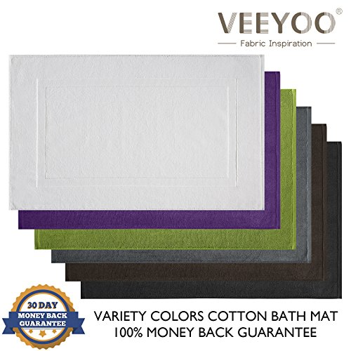 """VEEYOO White Bath Mats Set of 2 Pack, 100% Cotton Luxury Hotel and Spa Quality Shower Mats, Machine Washable Absorbent Extra Soft Bathroom Mat, 20"""" x 32"""""""