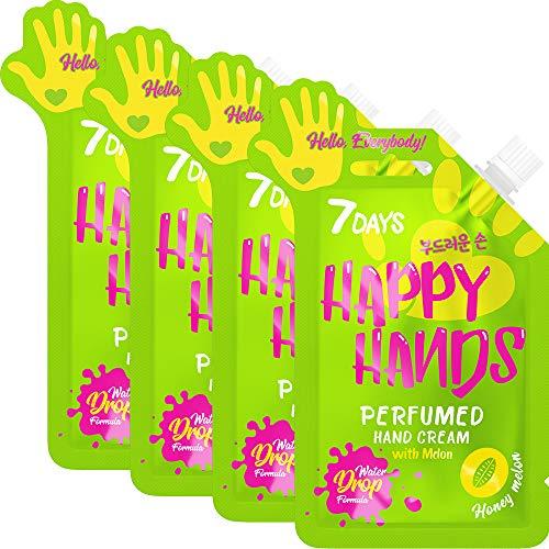 7DAYS Crème pour les Mains 4 pièces Melon Éxtrait de Goutte d'eau Apaisante Hydratante Purifiante Adoucante Nourrisante Riche Pour Tous types de Peaux