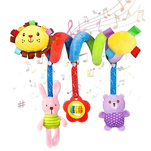 WolinTek Kinderwagen Spielzeug, Spirale Spielzeug Baby, Bett hängen Spielzeug,Baby-Autositz-Spielzeug,Activity Spirale für Kinderwagen Bett Babyschale ab 0 Monaten (Löwe)