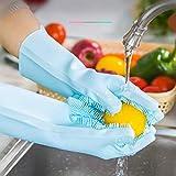 RENCALO Haushalts Insulated Silikon Abwasch Handschuhe Küche Reinigungsbürste Glove-Green