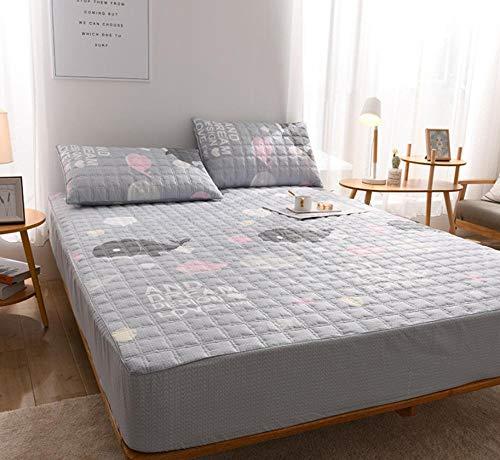 XLMHZP Lujosas sábanas Acolchadas de algodón, sábanas Estampadas Queen-fit, Protector de colchón King Antideslizante para niños y niñas-W_90x200cm + 30cm
