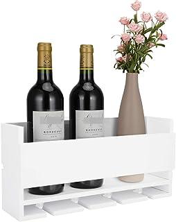 Vencipo Biały montowany na ścianie stojak na wino na 4 kieliszki do czerwonego wina, drewniany uchwyt na butelkę wina do w...