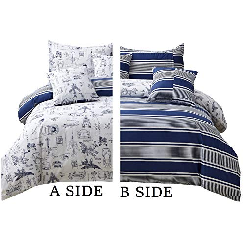 Brandream Boys Duvet Cover Set Twin Size Cars Tank Helicopter Aircraft Military Transport Vehicles...