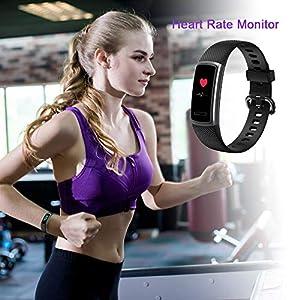 Huyeta Pulsera Actividad Fitness Tracker HR Pulsera Inteligentecon Pulsómetro Pulsera Deportiva y Monitor de Ritmo Cardíaco Monitor de Actividad Tracker Impermeable IP67 con GPS/Pulsometros (Rosado)