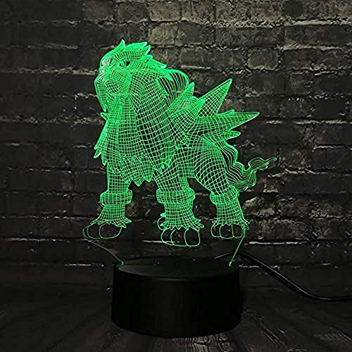 3D Illusion lamp Night Light Lava lamp Game Pokemon Go Action Map RGB lamp Pikachu Eevee Dragon Pokeball Bulbasaur Bay Role USB 7 Kleuren (Afstandsbediening)