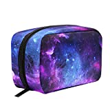 Purple And Blue Galaxy Makeup Bag Cosmetic Bag Toiletry Travel Bag Case for Women, Star Space Portable Organizer Storage Pouch Bags Box