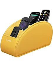 SITHON Remote Control Holder with 5 Compartments - Remote Caddy Desktop Organizer Store TV, DVD, Blu-Ray, Media Player, Heater Controllers, Yellow