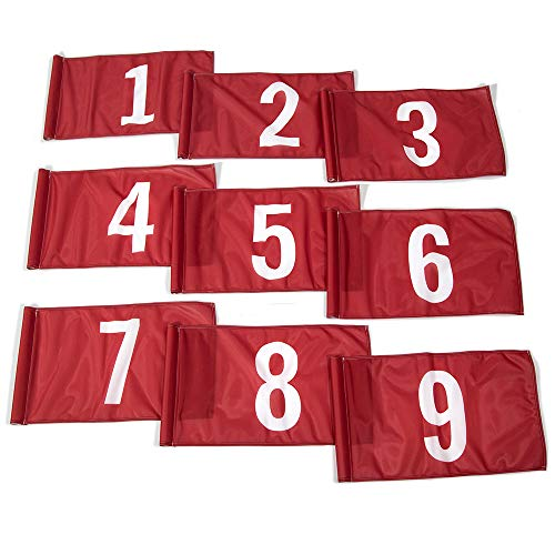 Vispronet 20in x 14in Numbered Golf Flags – Flags 1-9 – Fabric is Lightweight, Durable, and Flame Retardant - Red Flag with White Numbers