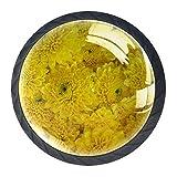 YATELI Primer Plano de Fondo de Flor Amarilla Perillas de extracción de para gabinetes, armarios, Puertas y cajones de Muebles: se Venden como un Paquete de 4 perillas