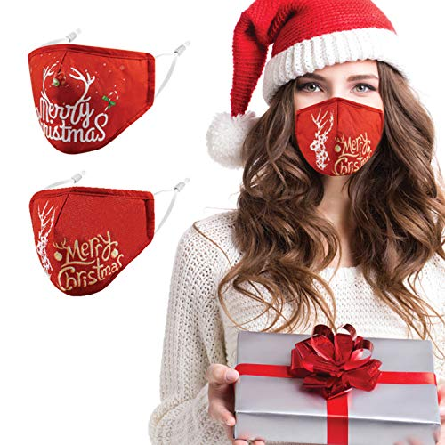 Christmas Face Mask Reusable Washable Cloth Cotton Fabric Women Men Unisex Adult with Nose Wire Adjustable Breathable Comfortable Cute Holiday Xmas Printed Mascarillas Tela para Diseño Elk Red 2 Pack