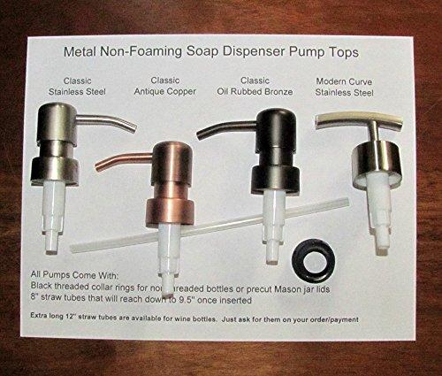 Soap Dispenser Pump Replacement for Liquor Bottle, Wine Bottle, Mason Jar Lid, 8' Tube and Collar Ring (Stainless Steel)