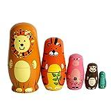FunnyGoo Poupée gigognes en Bois à la Main Kits de poupée Russe décoration colorée (Animaux)