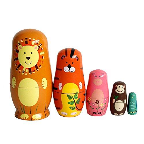 GoodPlay 5pcs Wooden Cute Cartoon Animal Nesting Doll Popular Handmade Kids Gifts Toy