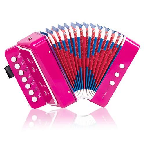 Fisarmonica a forma di cavallo, con 10 chiavi, per bambini, principianti, leggeri e rispettosi dell'ambiente (rosa)