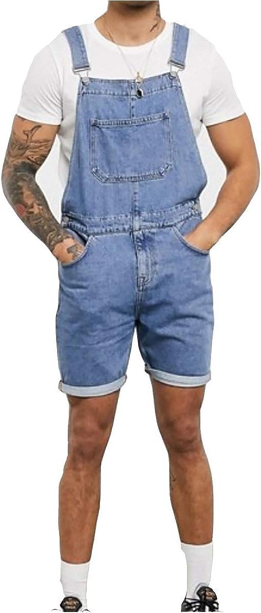 Men's Denim Bib Overall Shorts Jeans Retro Casual Overalls Jumpersuit Romper Trousers