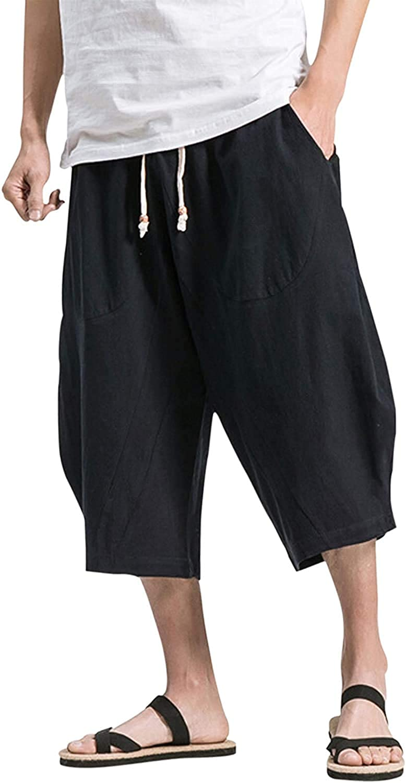 Shanghai Story Men's Baggy Cotton Linen Pants Casual Pocket Drawstring Calf-Length Harem Pants Beach Sports Long Shorts