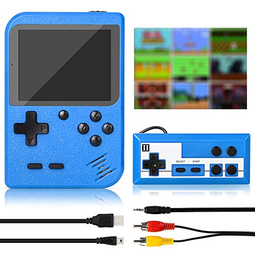 Winique Retro Game Console, Handheld Games Portable Game Player with 500 Classic FC Games, 3.0 Inch Screen 800mAh Rechargeable Battery Support TV Connection & Two Players for Kids Adults (Blue)