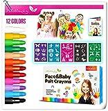 Alotlucky Schminkstifte Kit 12 Farben Kinderschminke Set,Gesicht Körper Malerei Kits Sicher und...