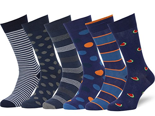 Easton Marlowe 6 PR Calcetines de Vestir Homber - 6pk #39 - estampados sutiles - 39-42 EU shoe size