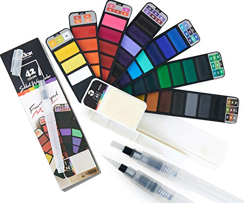 ARTIBOX Watercolor Paint Set, 42 Assorted Vibrant Colors, Professional Watercolor Set with 3 Different Brushes and Palette, Ideal for Artist and Professional Student to Draw Anytime Everywhere