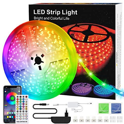 LED-Streifen, 6m Licht, Musiksynchronisation, Farbwechsel, RGB-LED-Streifen, 40-Tasten-Fernbedienung, empfindliches eingebautes Mikrofon, App-gesteuerte LED-Leuchten, 5050 RGB-LED-Lichtstreifen