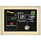 11.2' x 14.7' First/Last Day of School Board with Ruler Frames Reusable Chalkboard Sign for Preschoolers, Classrooms, Schools, Homeschooling, Kids Back to School, Works with Chalk Markers