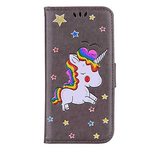 CAXPRO® Hülle für Samsung Galaxy S5, Galaxy S5 Brieftasche Stil Klapp Hülle, Standfunktion Ledertasche mit Magnet Verschluss und Kartenhalter, Grau